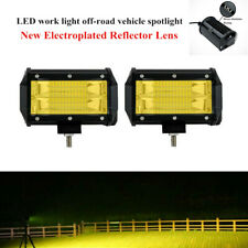 2X72W Car Double Row Yellow LED Stri Light Work Off-road Vehicle Headlight Lamps