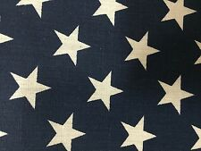 """Navy White American Star Print Poly Cotton Fabric - Sold By The Yard - 59"""""""