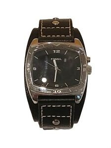 Vintage Fossil AM-3696 Big Tic Genuine Leather Watch Original Band New Battery!!