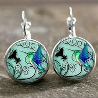 Vintage Women Blue Hummingbird Bird Bronze Glass Cabochon Drop Earrings Jewelry