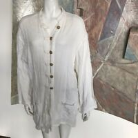 Under The Sun Lagenlook Pocketed Long White Blouse Top BA21 SZ Large