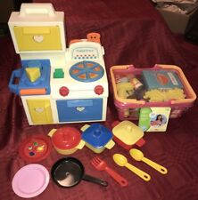 Fisher-Price Vintage Kitchen Play Set- Shape Sorter W/New Shopping Basket Food +