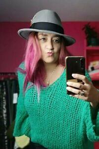 "GREY Fedora Hat 100% Wool Feathers Band Brim UK Handmade Medium 22.5"" circ"