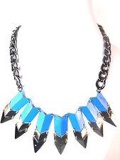 Señoras Grueso Gun Metal Blue Drop Collar Gargantilla Nuevo Único declaración (St93)