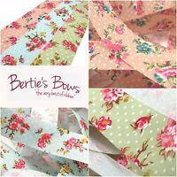 Bertie's Bows Delicate Floral Polka Dot 25mm Cut Edge Ribbon - Per Metre 3 FOR 2