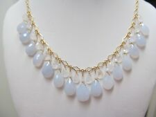 NATURAL BLUE CHALCEDONY W/ MOONSTONE FACETED BRIOLETTES GOLD FILLED NECKLACE SET