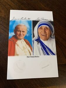Saint Mother Teresa & Pope John Paul II Hair Strand lock Relic Catholic COA Dual