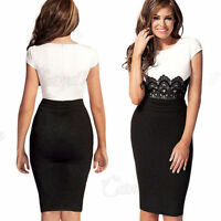 UK Womens Ladies Bodycon Evening Cocktail Formal Party Lace Mini Dress Size 8-14