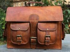 Vintage Genuine Leather Messenger Bag Briefcase Laptop Computer Shoulder Bag