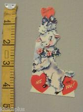 Vtg Valentine Card Sweet Little White Lamb Sheep 50's Unused