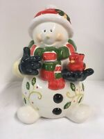 "Adorable  Christmas Snowman Cookie Jar 12"" T"