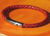 Mens / ladies 5mm Antique Red leather & stainless steel bracelet by Lyme Bay Art