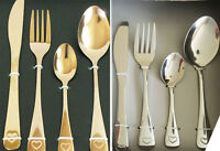 16 Piece Silver copper Stainless Steel Cutlery Set Forks Spoons Love heart desig