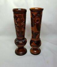 Vintage Wooden Bud Vase Hand Carved  Floral Flower Natural Crafted Pair