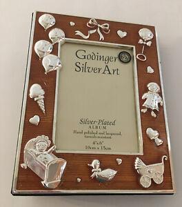 "Baby Photo Album Godinger Art Silver Plated Bronze Cover 4"" x 6"" 100 pics NEW"