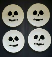 Pottery Barn Halloween Skeleton Plate Set Of 4 NEW