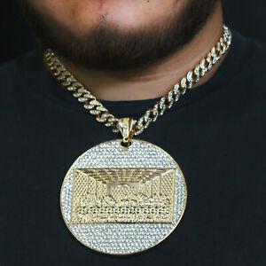 "Last Supper Temple Huge Pendant Gold Pt 20"" Fully Cz Hip Hop Cuban Choker Chain"