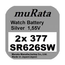 2x Murata/Sony 377 Uhren-Batterie Knopfzelle SR626SW AG4 Silberoxid Blister Neu