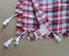 Juicy Couture Scarf Open Road Red Plaid Tassels NEW $68