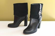 NEW! Michael Kors Black Leather Ankle Suede Fulton Harness Signature Boots 5.5 M