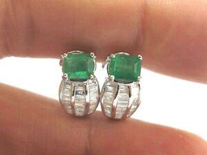 Green Emerald & Diamond Huggie Earrings 18Kt White Gold 2.10Ct FVVS2 15.5MM