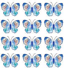 12 Disney Frozen ELSA Edible Butterfly Wafer Cupcake Cup Cake Topper Image SET 1