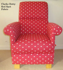 Clarke Red Dotty Spot Fabric Chair Nursery White Polka Dot Shabby Chic Armchair