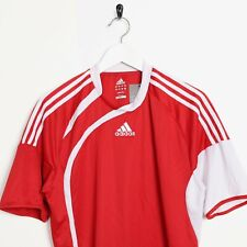 Vintage ADIDAS Central Logo Polyester T Shirt Tee Red Large L