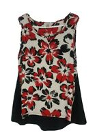 ROZ & ALI Womens size 2X Floral Sleeveless Tank Top Blouse Ivory Red Black Lace