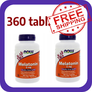 NOW FOODS MELATONi Melaton 5mg 180/360 kaps Besserer Schlaf Schlaflosigkeit