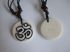 Yak Bone Powder Resin Carved Ohm Symbol OM Yoga Pendant Necklace YK154