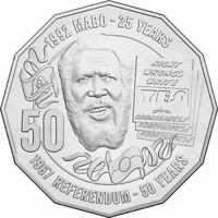 """2017 Eddie Mabo """" Pride and Passion """" 50 Cents UNC Coin Ex RAM Mint Bag"""