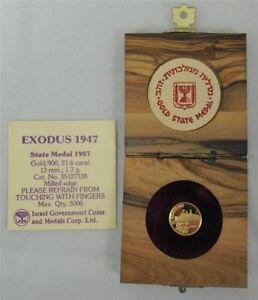 Israel 1987 Ship Exodus - 1947 State Medal 13mm 1.7g Gold +COA +Olive wood box
