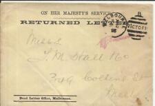 """Victoria OFFICIAL Envelope """"RETURNED letter"""" Dead letter Office, Melbourne"""
