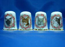 Birchcroft China Thimbles -- Set of Four -- Cameo Cats