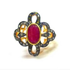 1.10cts Rose Cut Diamond Ruby Antique Victorian Look 925 Silver Cocktail Ring