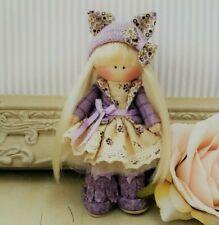 Rag doll handmade in UK Mini pocket doll Tilda doll Ooak doll JESS 5 inch tall