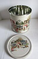 """Cookie Tin Cross Stitch Art Town City Folk Dancookie 1988 Vintage Round 7.5"""" D"""