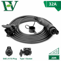EV Extension Cable 32A Electric Car Cord For Charging Station SAE J1772 20ft