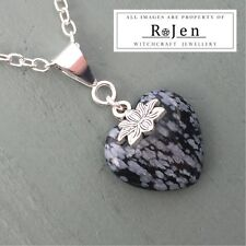 Silver Plated Snowflake Obsidian Heart Lotus Flower & Om Pendant PURITY Chakra