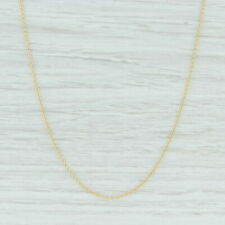 """Cable Chain Necklace 14k Yellow Gold 17.75"""" 0.9mm Lobster Clasp Italian"""
