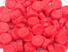 CZ059 Czech Glass Flower Beads Red Disc 12mm PK10  *UK EBAY SHOP*