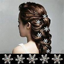 5Pcs Beautiful Wedding Bridal Crystal Rhinestone Pearl Flower Hair Pin Clips TJ6