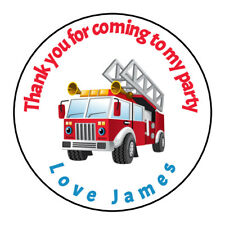 Personalised Fire Engine Red Blue Birthday Thank You Party Stickers Sweet Cones