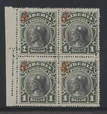 Liberia 1906 $1 Liberty Official block w/double perfs horizontal+vertical no gum