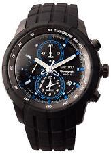 Seiko SNAD87 SNAD87P1 Mens Alarm Chronograph Black Dial Black Steel 100m Watch