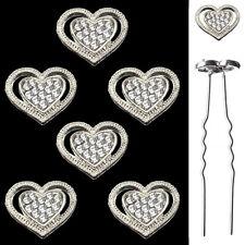 6 épingles pics cheveux chignon mariage danse mariée coeur argenté cristal blanc