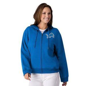 NFL Detroit Lions Officially Licensed Women's Full Zip Hoodie G-III Blue