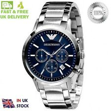 NEW Emporio Armani AR2448 Mens Blue Chronograph Watch 1 W.DAY DELIVERY !!!