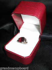 Exotic Embossed Red Leatherette Designer Engagement Ring Presentation Gift Box